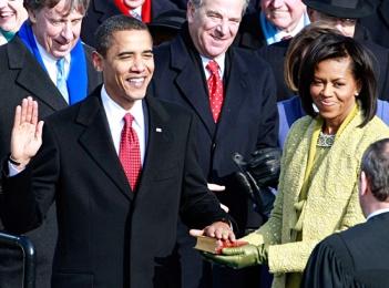 Barack Obama being sworn in as president