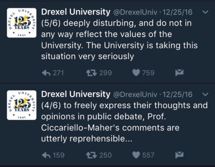 Drexel University response to White Genocide tweet
